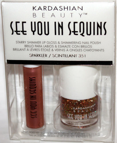KARDASHIAN SEE YOU IN SEQUINS Lip Gloss SPARKLER & Polish #351 SCINTILLANT Set 06631