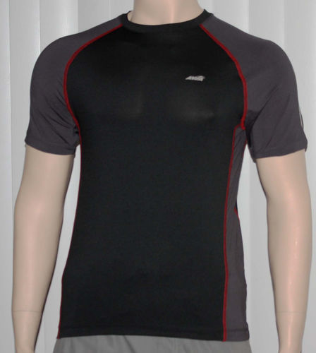 Avia Men's Black and Gray Dri-Control UPF 25 Stretch Fit Shirt (Small) 06545