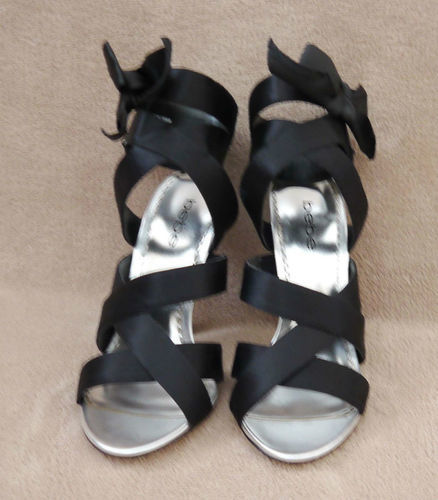 Bebe ISABELLA Women's Black Ribbon Heels Shoes (Size 6 Medium) 06506