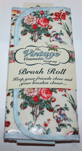 The Vintage Cosmetic Company Floral Makeup Brush Roll Holder