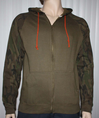 Brooklyn Trademark Mfg Co. Men's Brown Camo Accents Zip Front Hoodie Jacket 06216