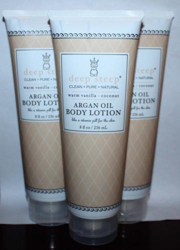 Lot Of 3 Deep Steep ARGAN OIL Body Lotion With Warm Vanilla & Coconut 8 oz Each 05378