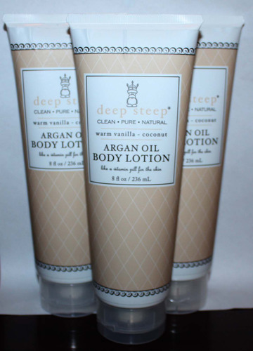 Lot Of 3 Deep Steep ARGAN OIL Body Lotion With Warm Vanilla & Coconut 8 oz Each