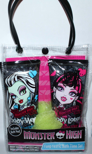 Monster High FANG-TASTIC Bath Time Set Body Wash, Lotion & Body Poof