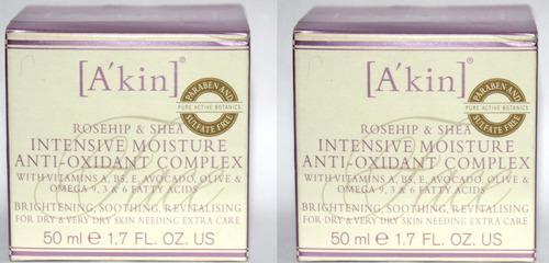 Lot Of 2 A'Kin Rosehip & Shea Intensive Moisture Anti-Oxidant Complex 1.7 oz 04055