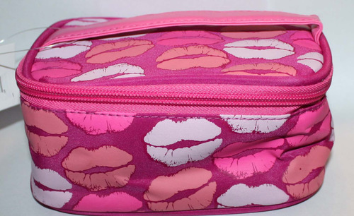Pink With Multi-Colored Lips Makeup Cosmetic Case Bag