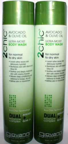 Lot of 2 Giovanni 2Chic Avocado & Olive Oil Ultra-Moist Body Wash 10.5 oz Each