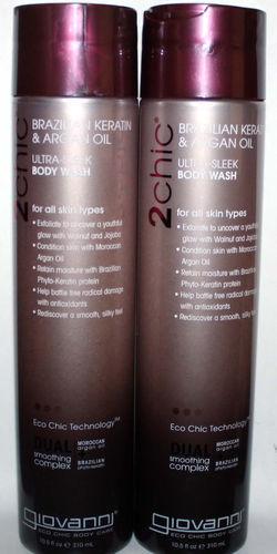 2 Giovanni 2Chic Brazilian, Keratin & Argan Oil Ultra-Sleek Body Wash 10.5 oz 03813
