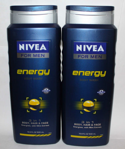 Lot Of 2 NIVEA FOR MEN Energy 3 In 1 Body, Hair & Face Wash 16.9 oz Each 03768