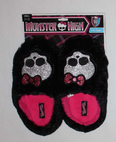 Monster High Girl's Furry Skullette Slip-On Slippers (Sz S) 02782