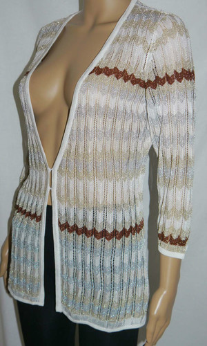 White House Black Market Women's Striped Knit Cardigan Sweater Top (Medium) *Reduced* 02519