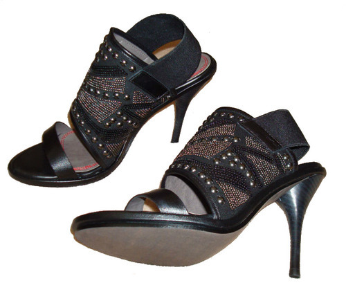 Miss Sixty SADE Black Leather Embellished Shoes Heels -Reduced 02334