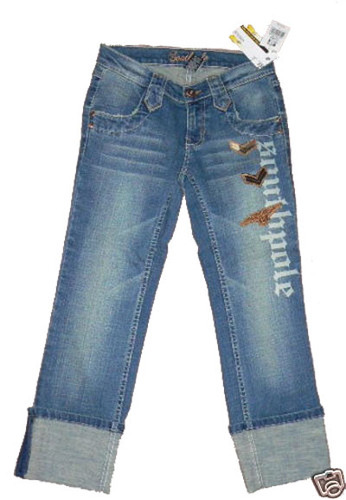 Southpole Women's Junior Cropped Distressed Denim Jeans (Size 1) 02316
