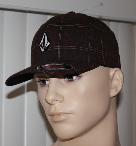 Volcom FULL STONE Men's Flexfit Brown Plaid Cap Hat