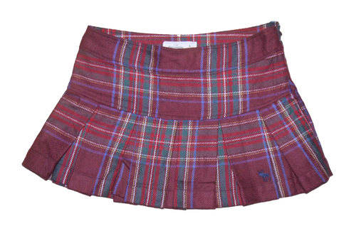 Abercrombie Kids Girl's Wool Blend Burgundy Plaid Pleated Mini Skirt (Size 12) *Reduced* 01168