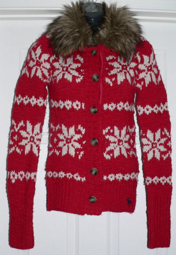 Abercrombie Kids Girl's Winter Red Snowflake Fur Collar Cardigan Sweater (X-Large) *Reduced* 01161