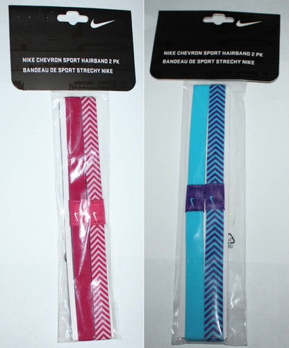 "2 Pack NIKE Unisex CHEVRON ¾"" Hairbands Headbands (Several Colors) 01016"