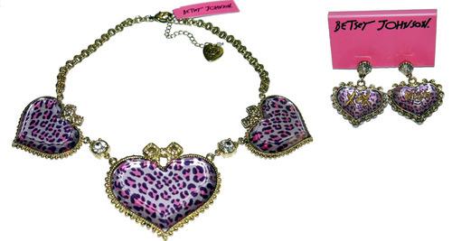 Betsey Johnson Leopard Heart Rhinestone XOX KISS Dangle Earrings & Necklace *Reduced* 00867