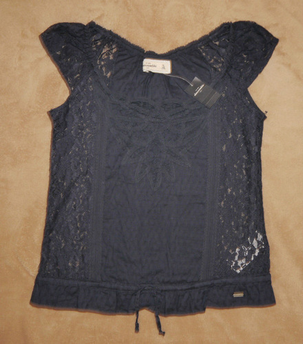Abercrombie Kids Girl's Navy Blue All Over Lace Top Shirt (X-Large) *Reduced* 00858