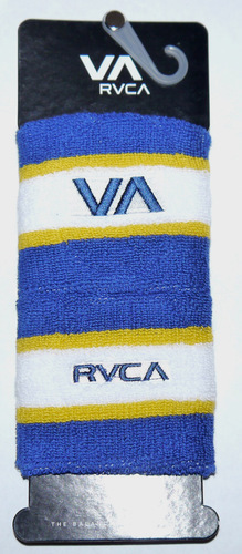"2 Pk RVCA Unisex Blue White and Yellow 3"" Wristbands *Reduced* 00663"