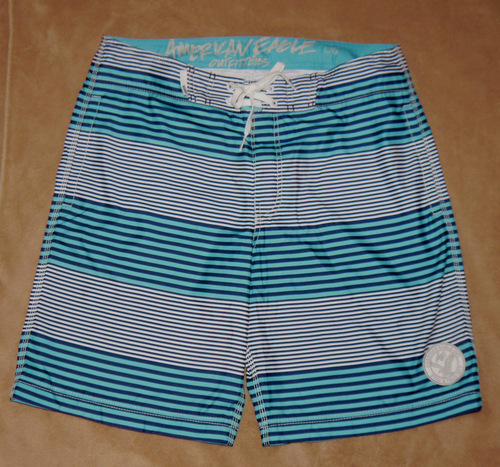 American Eagle Men's Swim Board Shorts -Blue and White Stripes (large) 00519