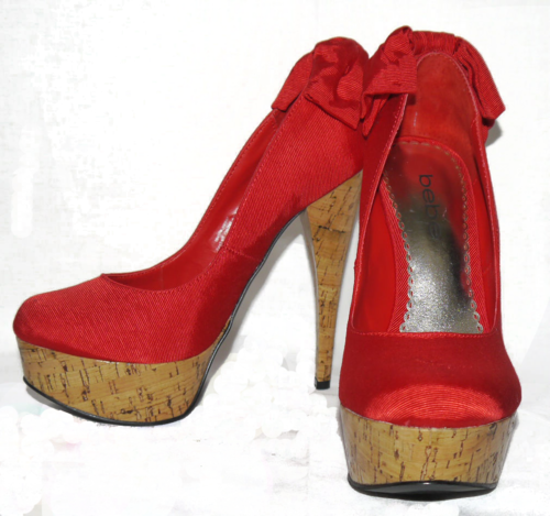 Bebe KAHILIA Red Textured Bow At Heel Cork Heels Pumps Shoes 00102
