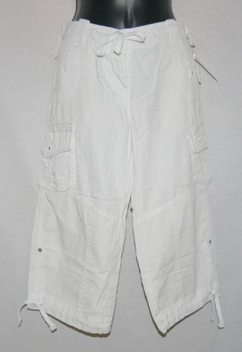 Refuge Women's Junior White Adjustable Length Cropped Pants (Size 7) 00100