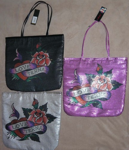 Ed Hardy FRANCESCA Sequin LOVE ETERNAL Tote Bag (Several Choices) *Reduced* 00072