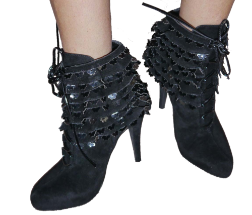 Colin Stuart Women's FRILLS BOOTIE Black Lace Up Ankle Boots (Sizes 7.5 and 6.5) *Reduced* 00071