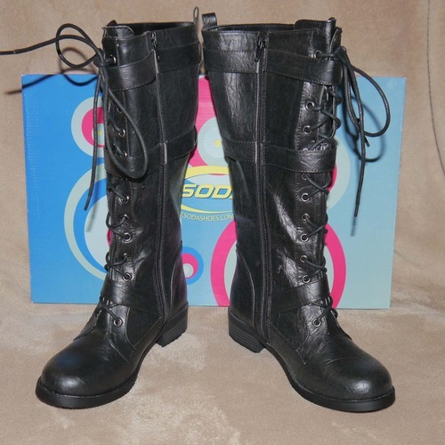 Soda KEVIN Women's Mid Calf Black Lace Up Buckle Boots (Size 7) 00062