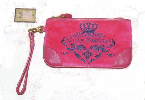 Juicy Couture VIVID 949 Dark Pink Graphic Velour Clutch YSRUS386 *Reduced* 00061