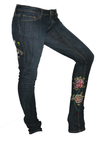 Ed Hardy LOVE KILLS SLOWLY Heart Skull Roses Denim Skinny Jeans (Size 27) *Reduced* 00024