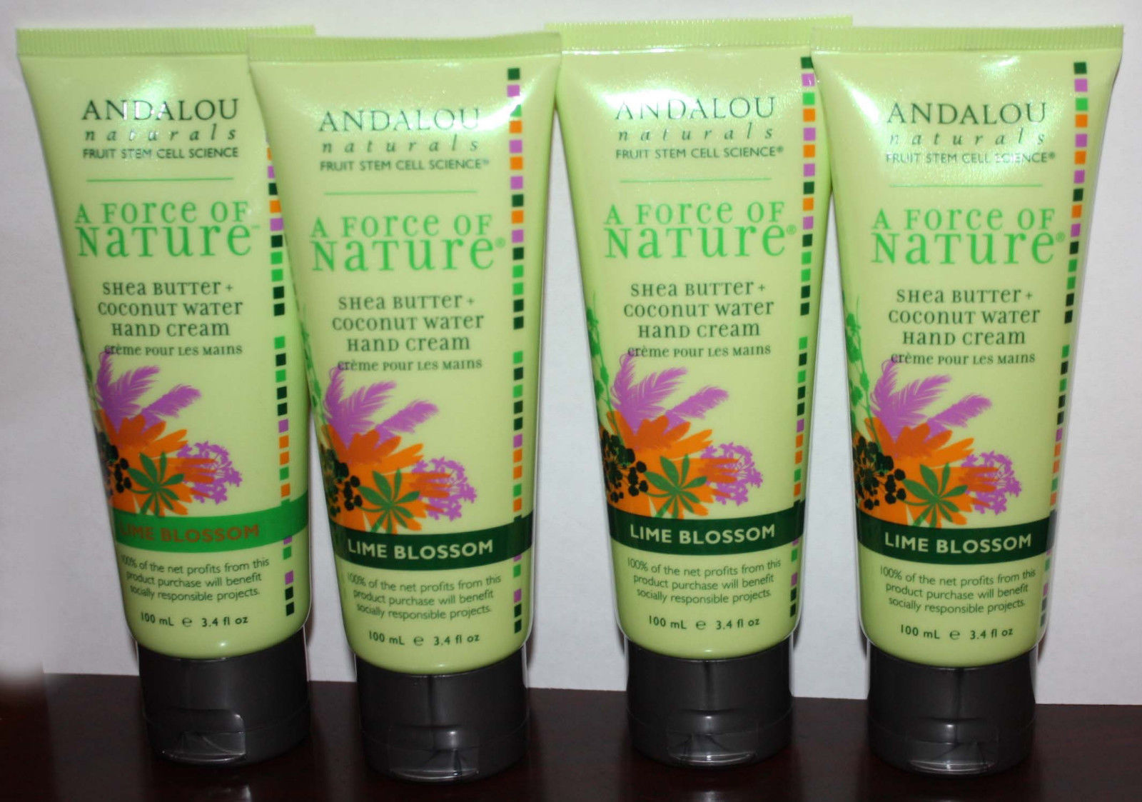 Lot Of 4 Andalou Naturals A FORCE OF NATURE Lime Blossom Hand Cream 3.4 oz Each 09418