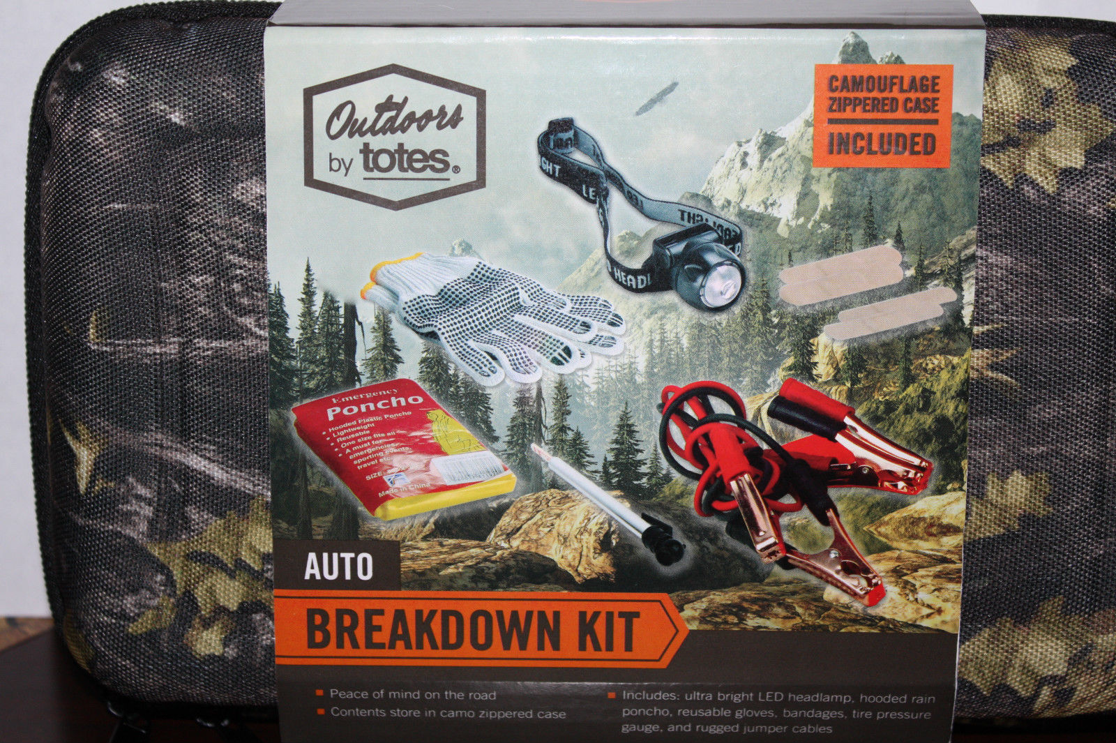 Outdoors By Totes 6 Piece Auto Breakdown Kit In Camo Zippered Case 09548