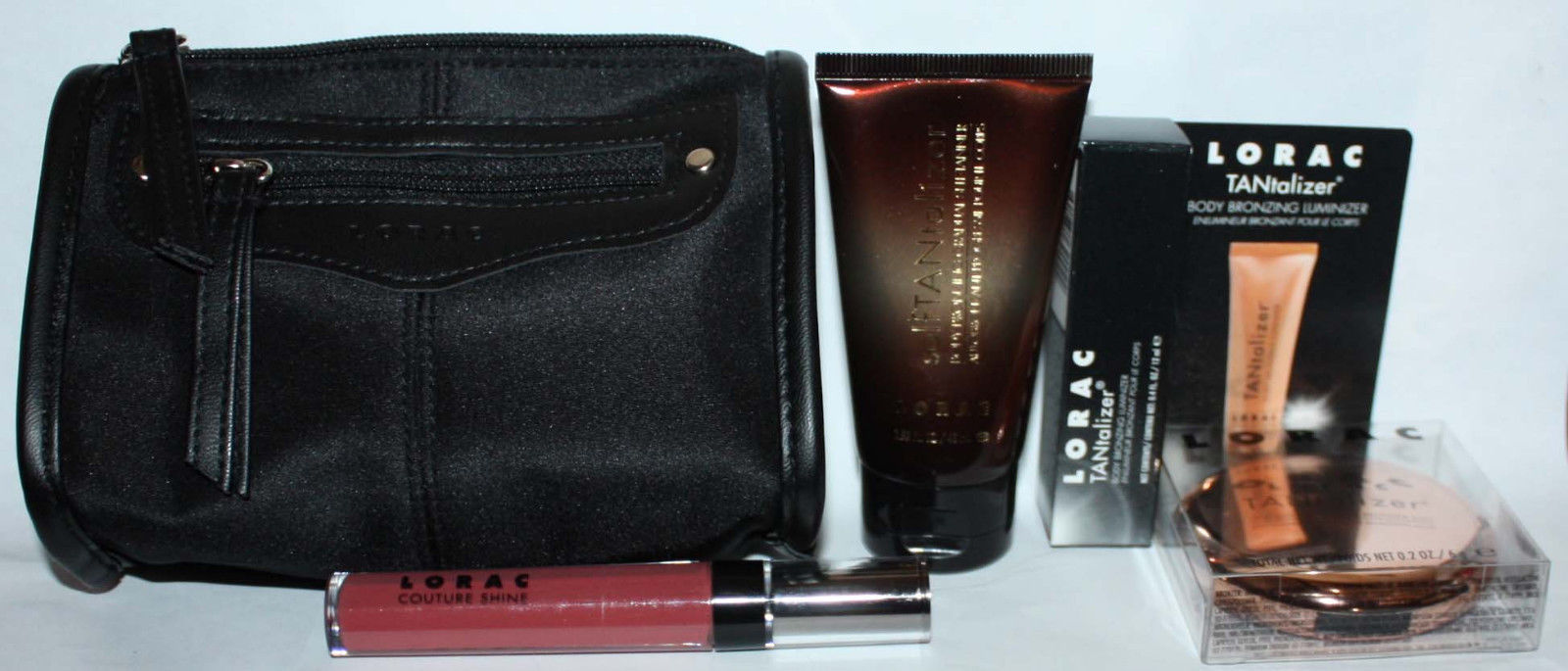 4 Pc LORAC Sun-Kissed Glow Tantalizer Collection + Makeup Bag 09558