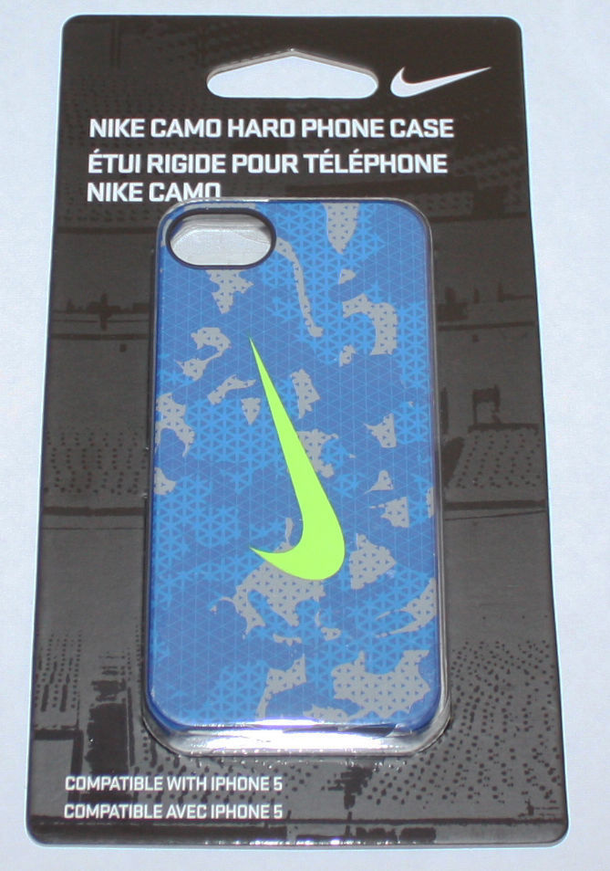 Nike CAMO Hard Phone Case For iPhone 5 Blue/Gray/Volt Swoosh 09749