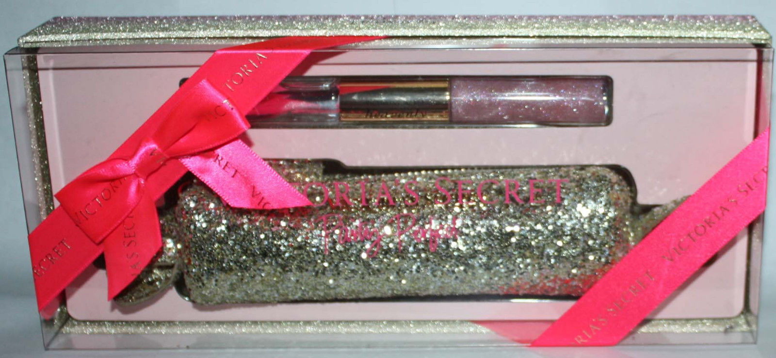 Victoria's Secret Party Perfect Heavenly Rollerball Parfum Lip Gloss Duo & Bag 09832