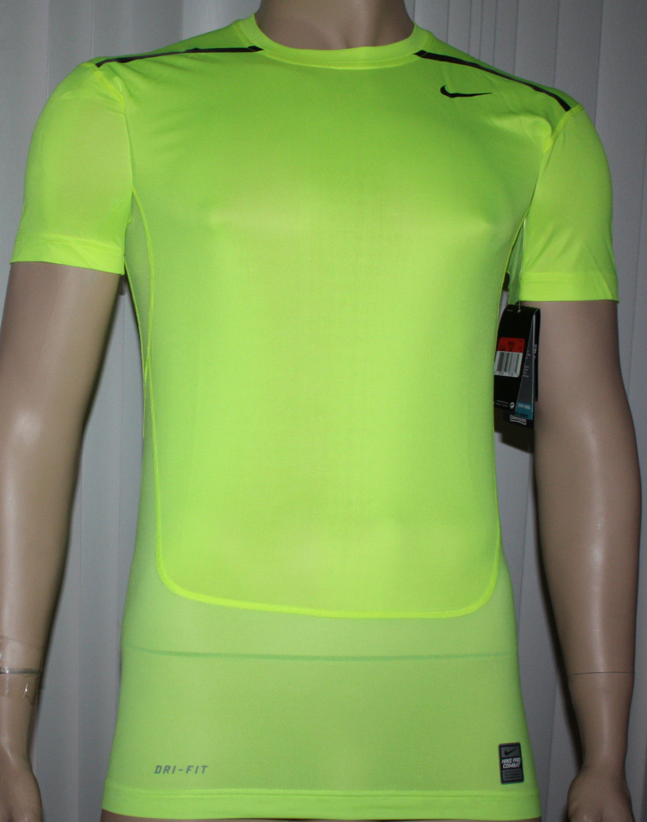 Nike Pro Combat Men's Dri-Fit HyperCool Compression Shirt Volt/Obsidian (Several Sizes) 09871