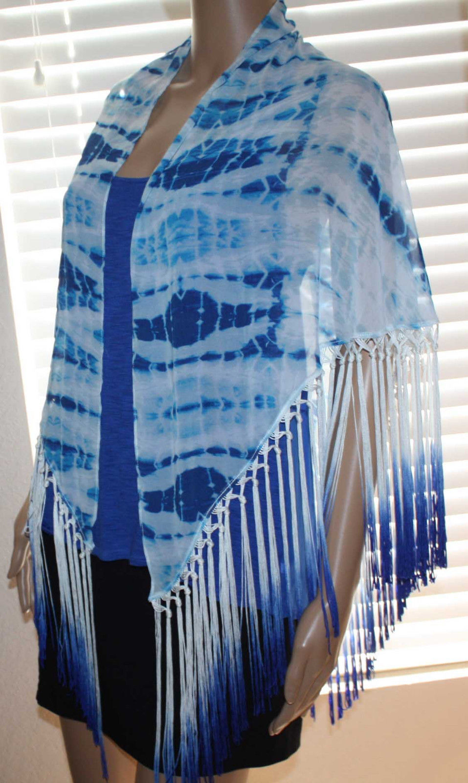 Bebe Women's Seaside Tie Dye Ombre Fringed Scarf 10218