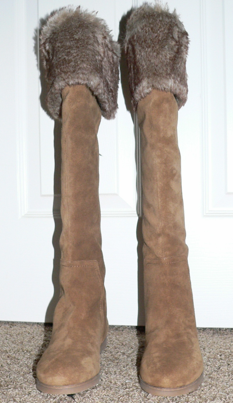 American Eagle OLLIE Women's Tall Cognac Suede Boots (Size 6.5) 10276