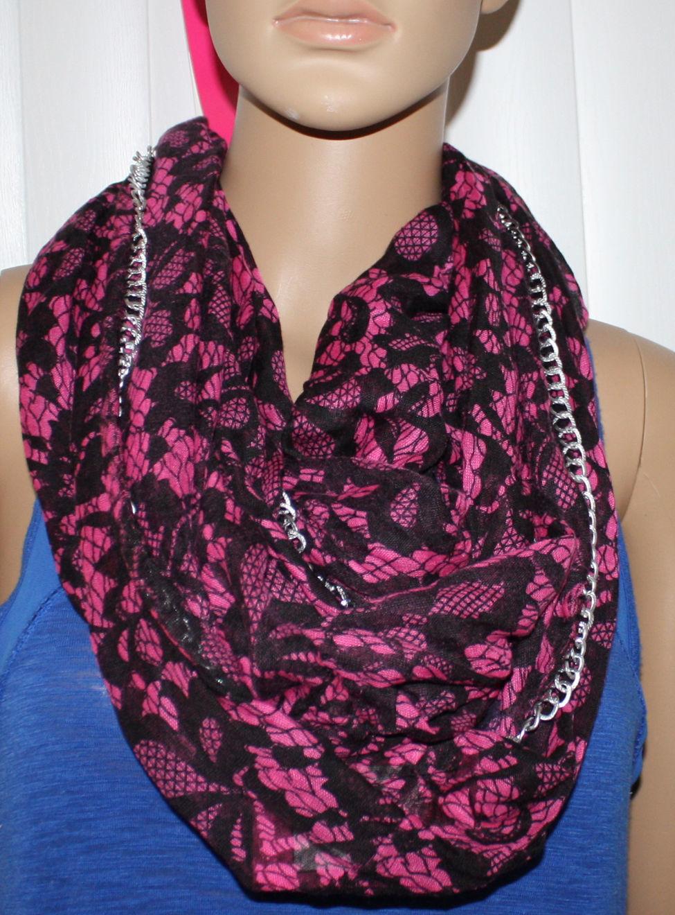 Betsey Johnson Women's Double Loop Black/Magenta Silver Chain Scarf 10298