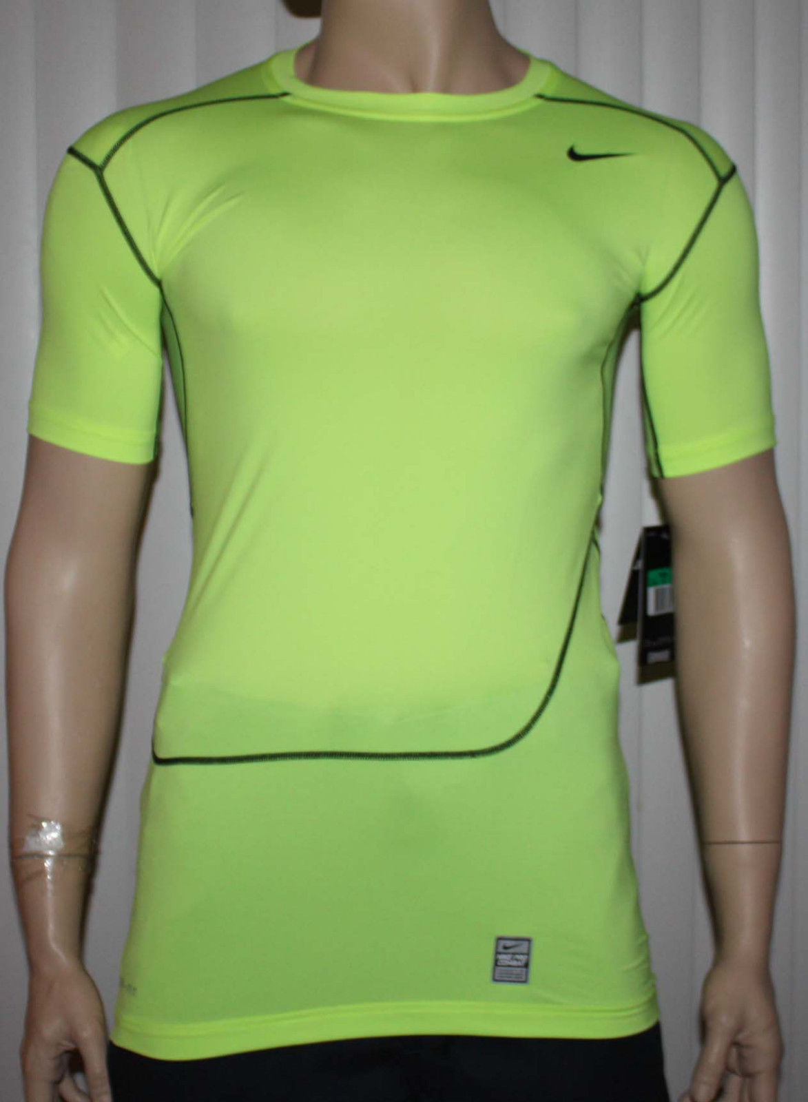 Nike Pro Nike Pro Combat Men's Dri-Fit Volt/Black Swoosh Compression Shirt -X-Large 10398
