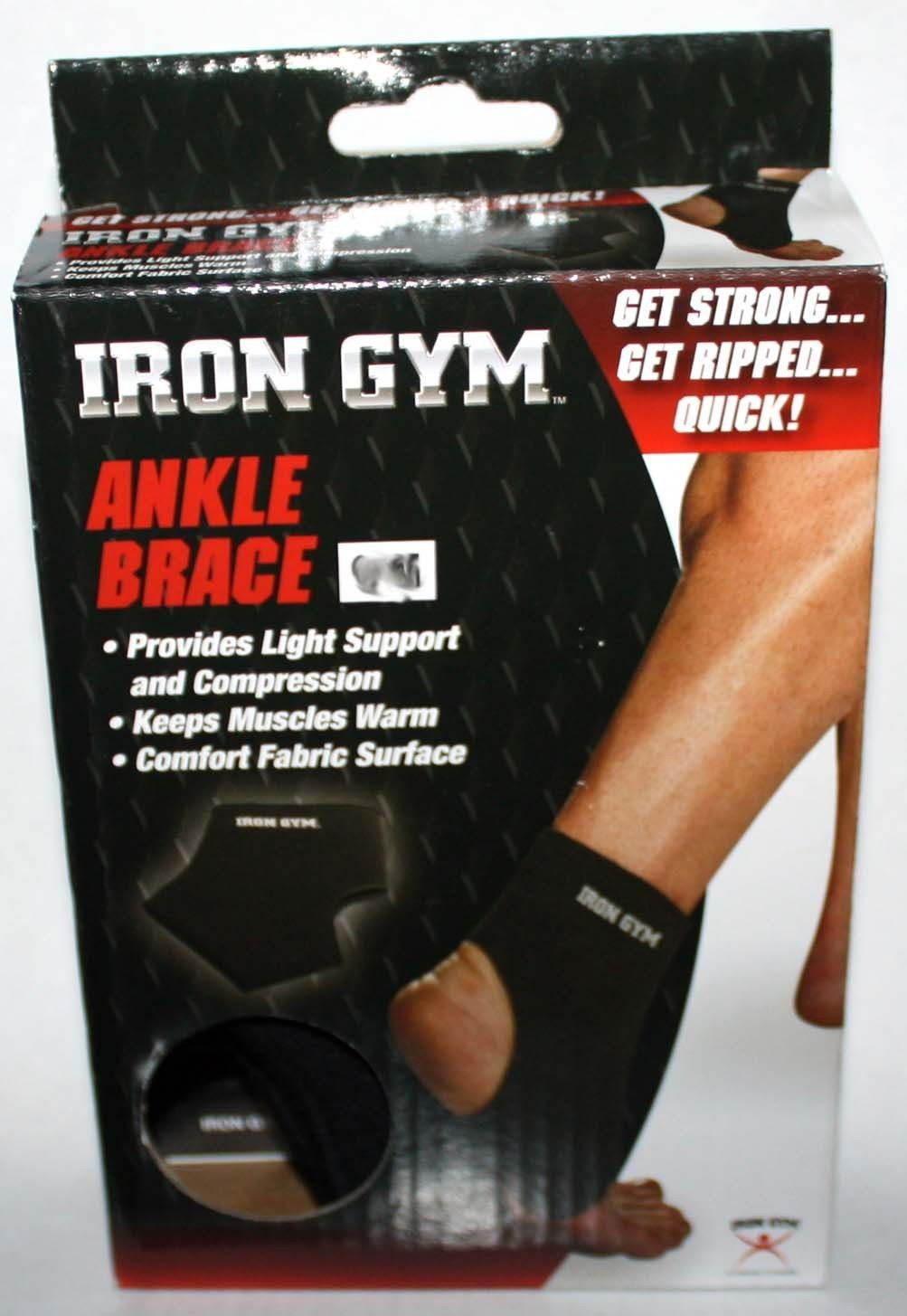 Iron Gym Unisex Black Light Compression Ankle Brace (Several Sizes) 10417