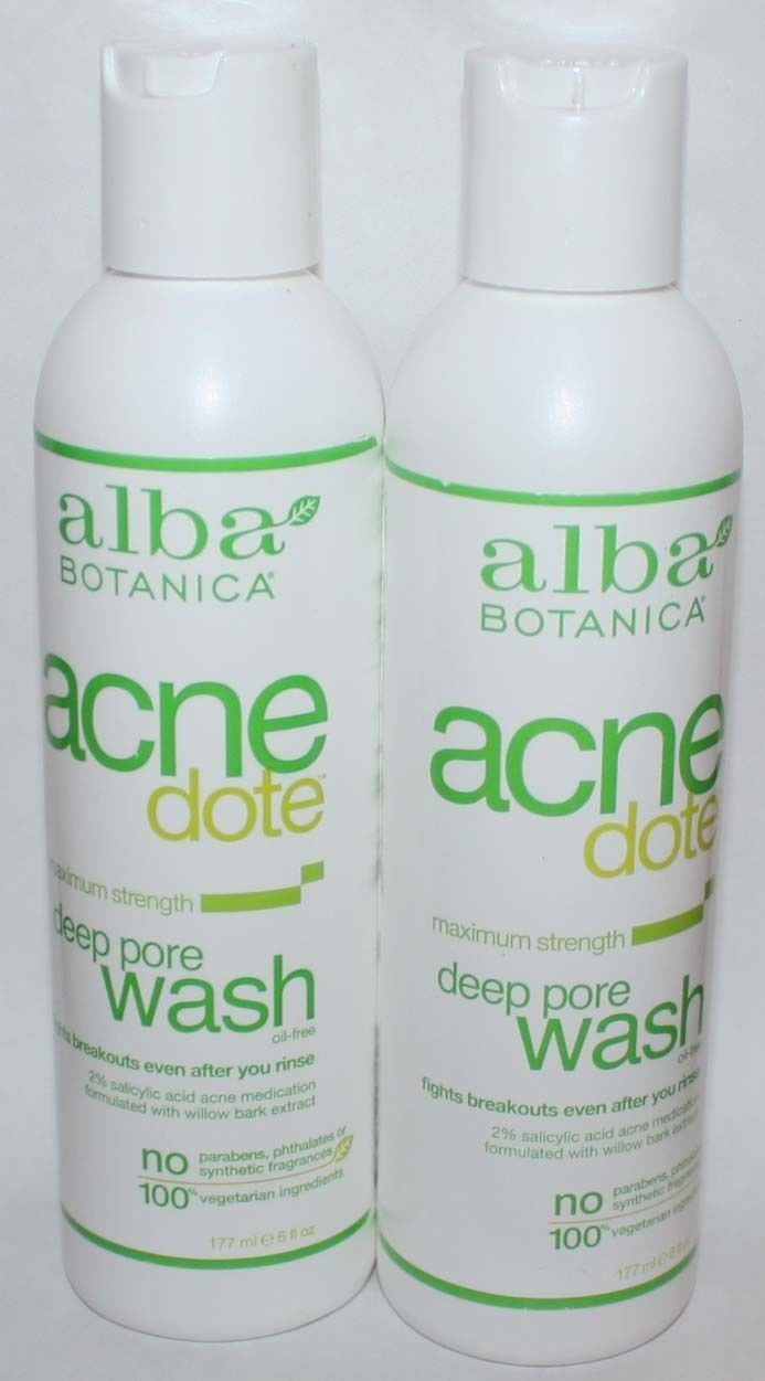 Lot of 2 Alba Botanica Acnedote Maximum Strength Deep Pore Oil Free Wash 6 oz 10520