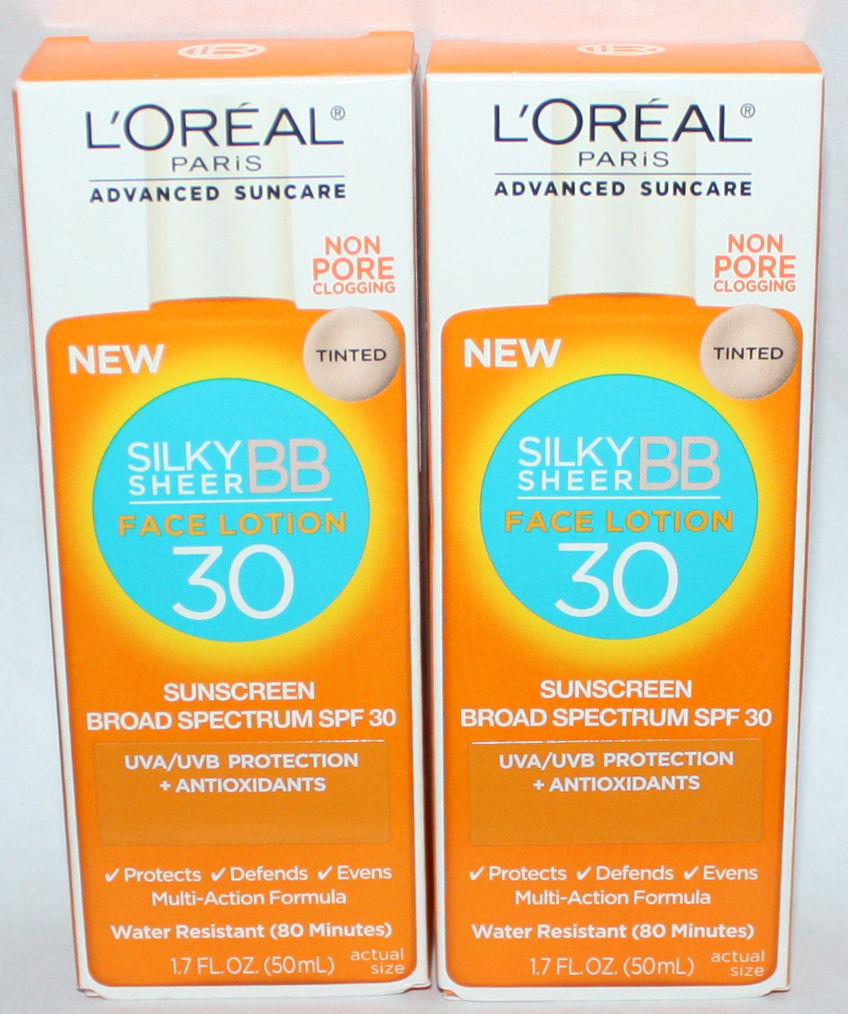 Lot of 2 L'Oreal Paris Tinted Silky Sheer BB Face Lotion SPF 30 1.7 oz Each 10542