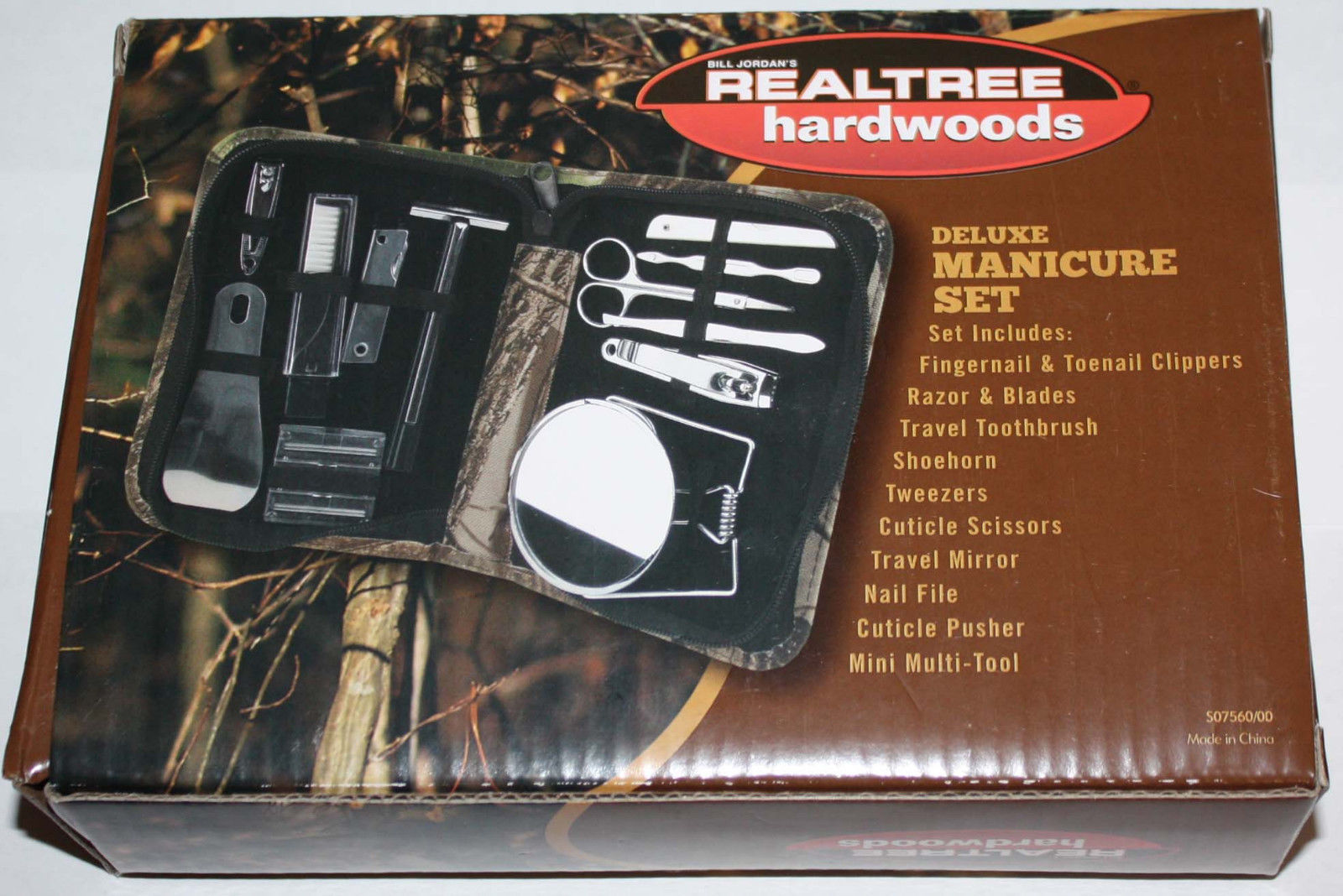 12 pc Bill Jordan Realtree Hardwoods Deluxe Camo Manicure Set With Case 09349