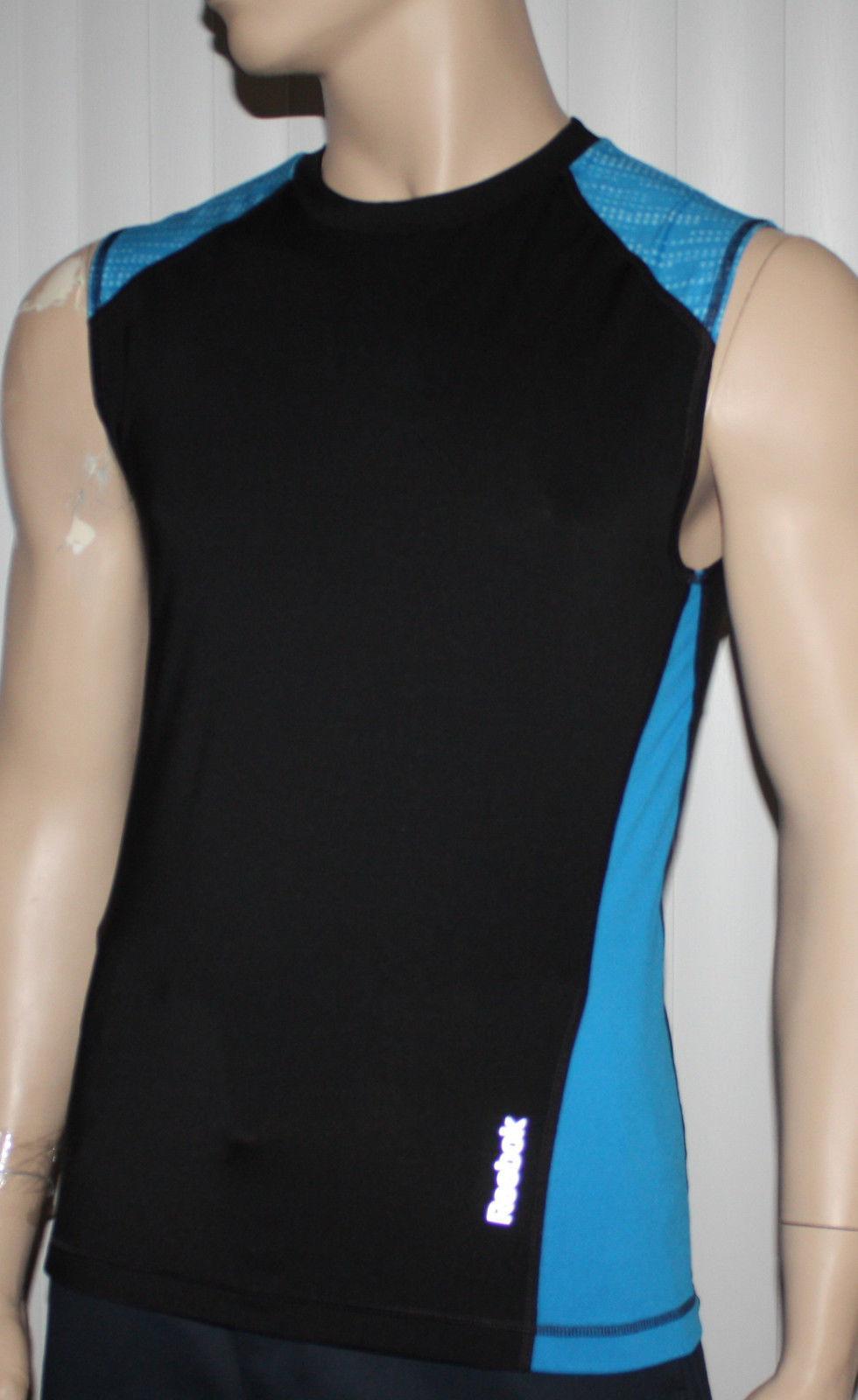 Reebok SPORT Men's Black/Aqua Sleeveless Compression Tank Top (Several Sizes) 10780