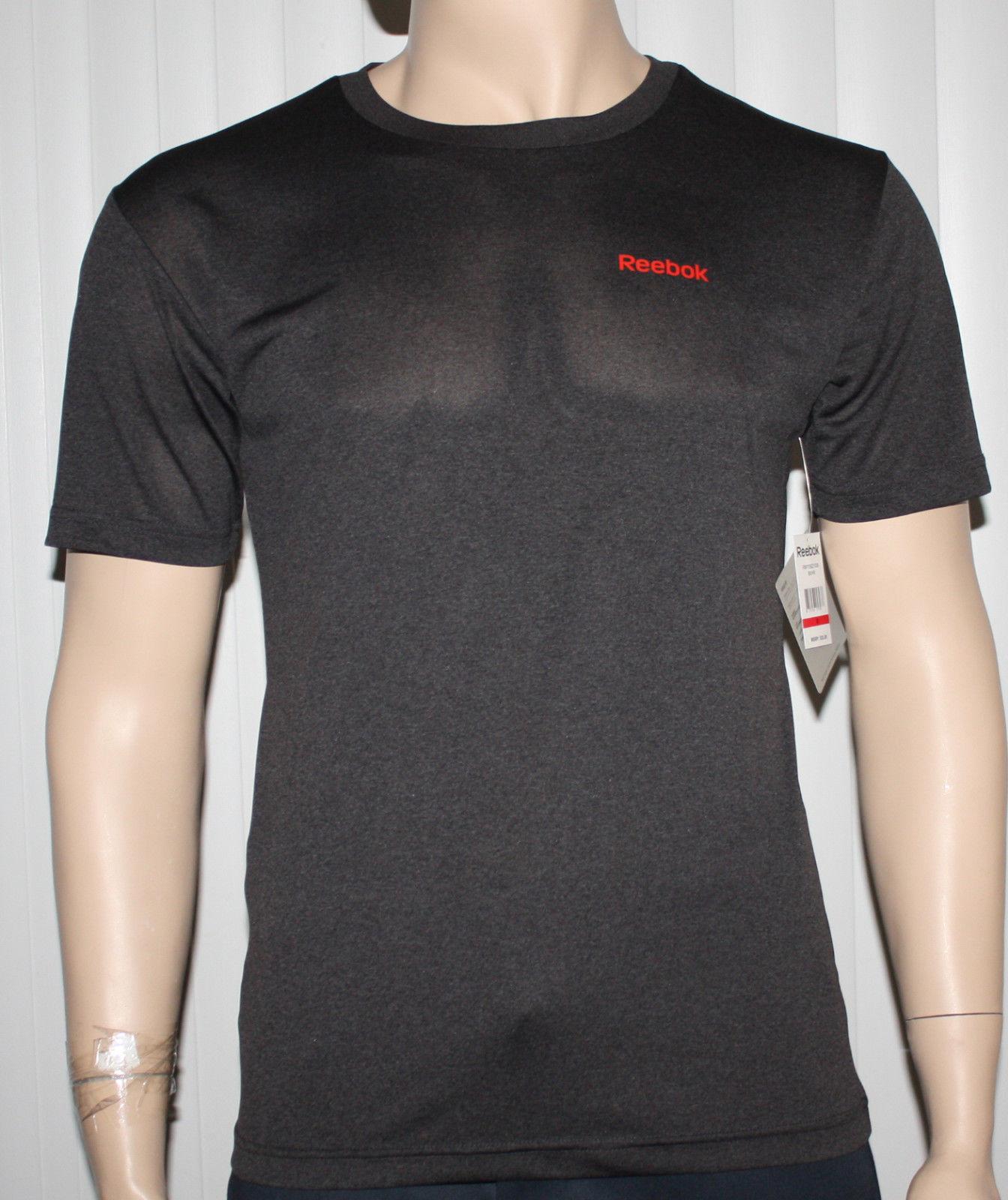 Reebok SPORT Regular Classic Fit Men's Black Heather/Red Reebok Shirt (Small) 10810