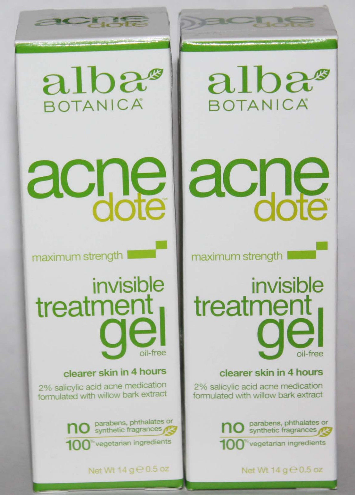 2 Alba Botanica Acnedote Maximum Strength Invisible Treatment Gel 0.5 oz Each 10816