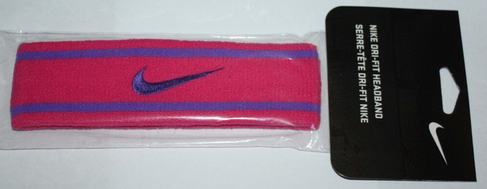 Nike Unisex Dri-Fit Headband Vivid Pink/Purple Venom Stripes/Swoosh (One Size) 10869